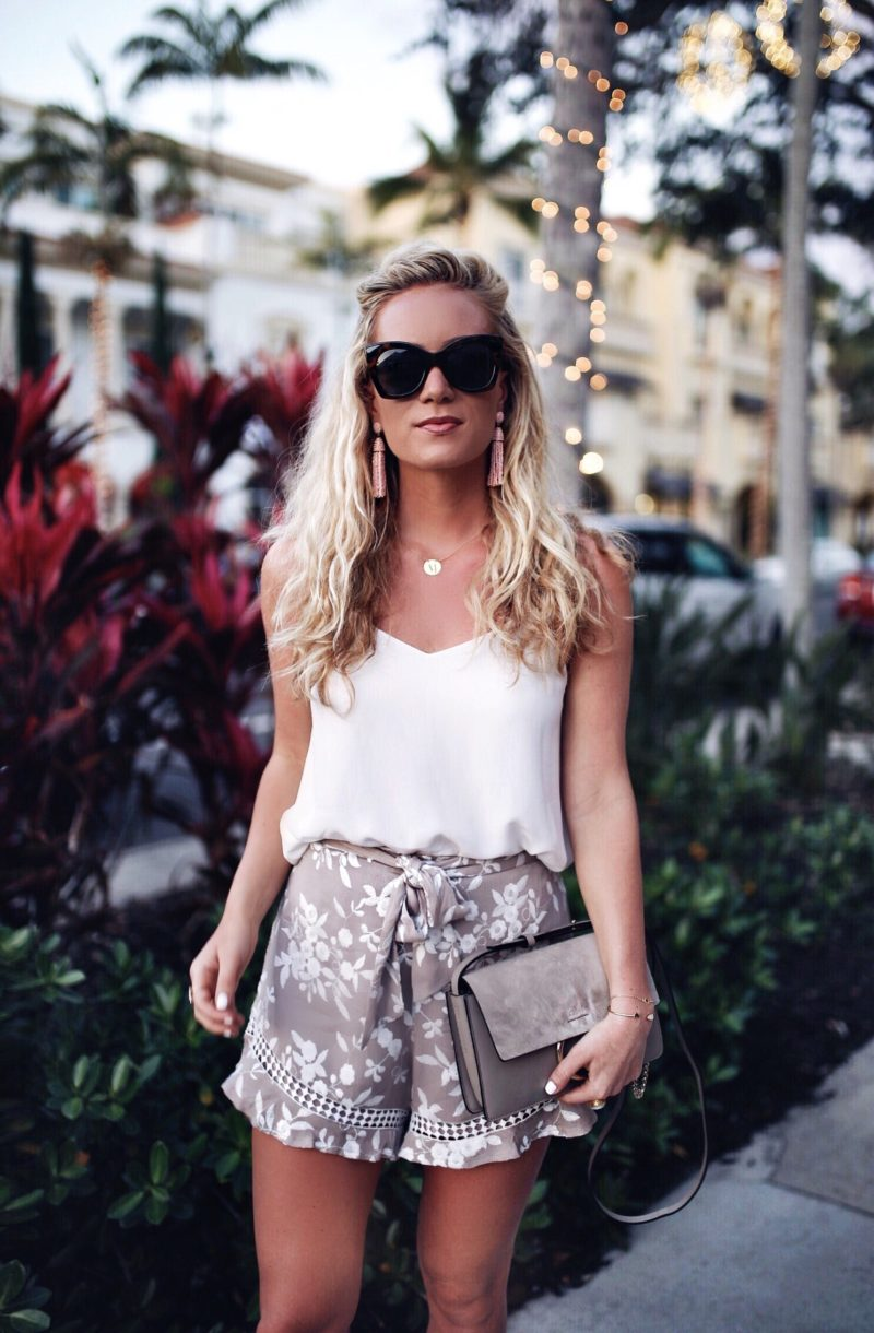 Silk Tank and Floral Ruffle Hem Shorts