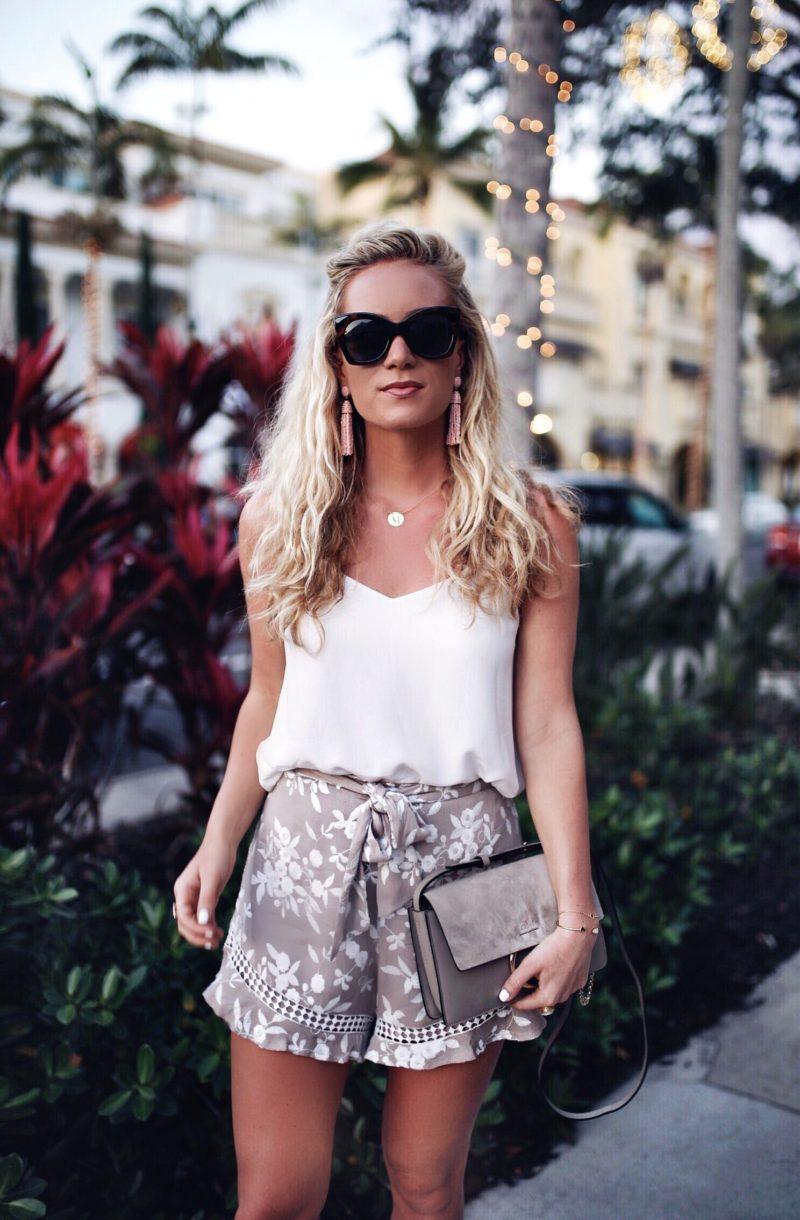 Silk Tank and Floral Ruffle Hem Shorts