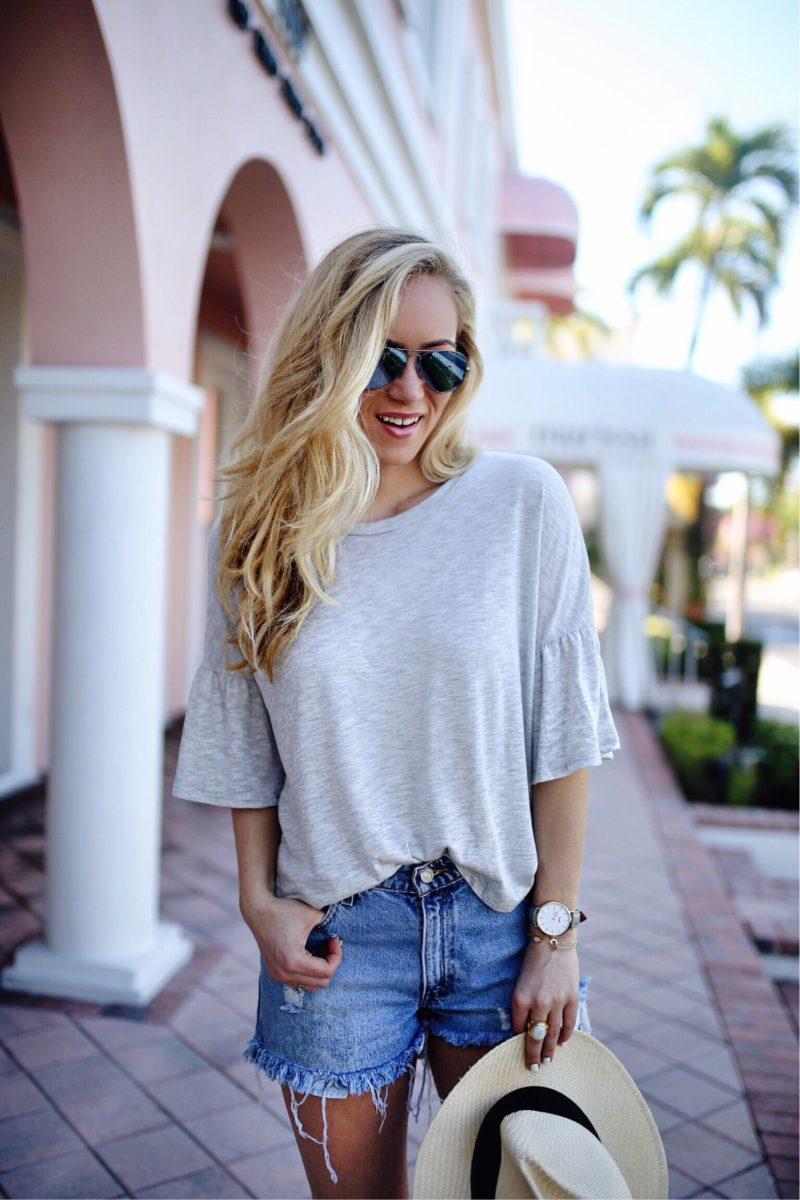 Ruffle Sleeve Gray Top