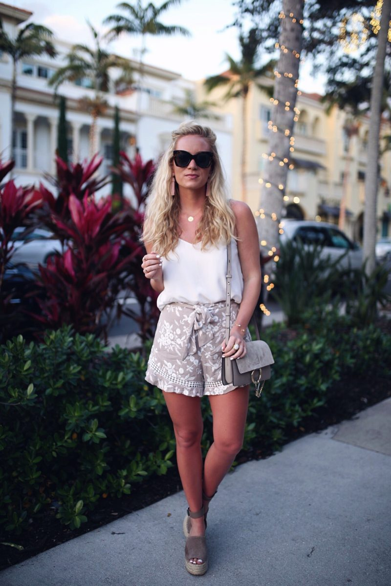 White Tank with Floral Shorts