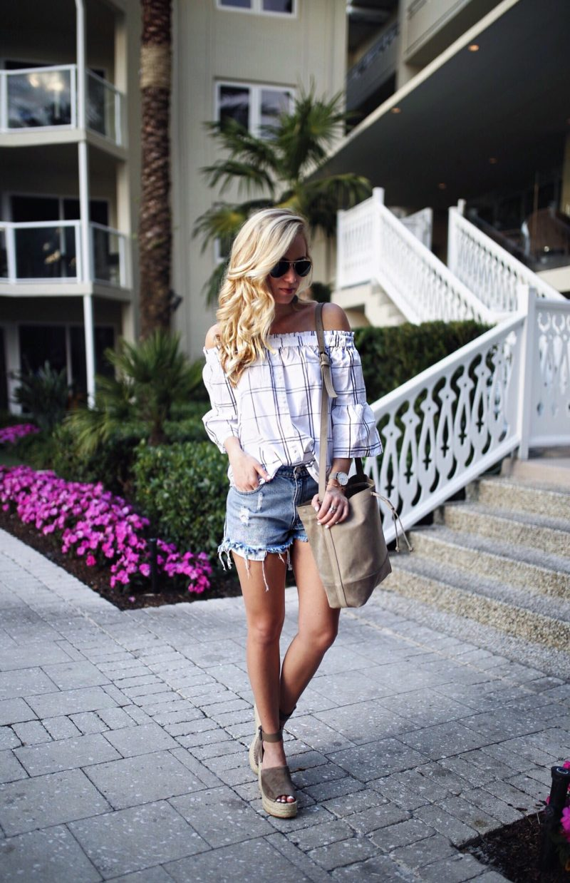 Plaid Off Shoulder Top Denim Cutoffs