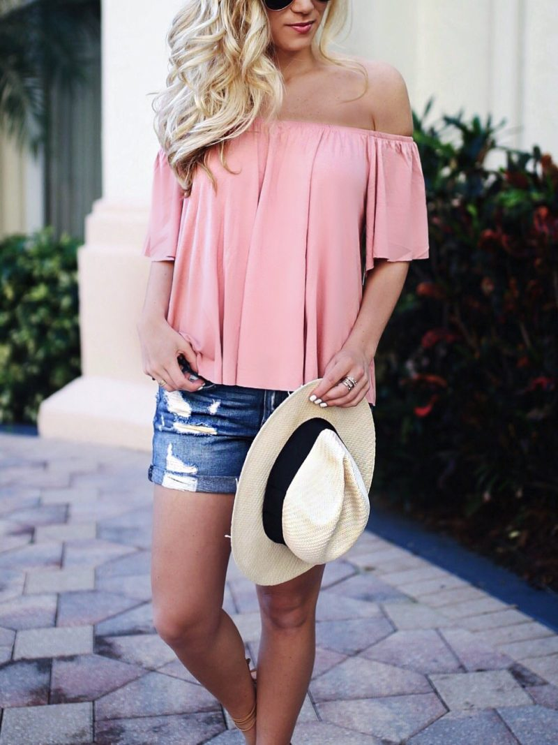 Off Shoulder Top + Cut Off Shorts