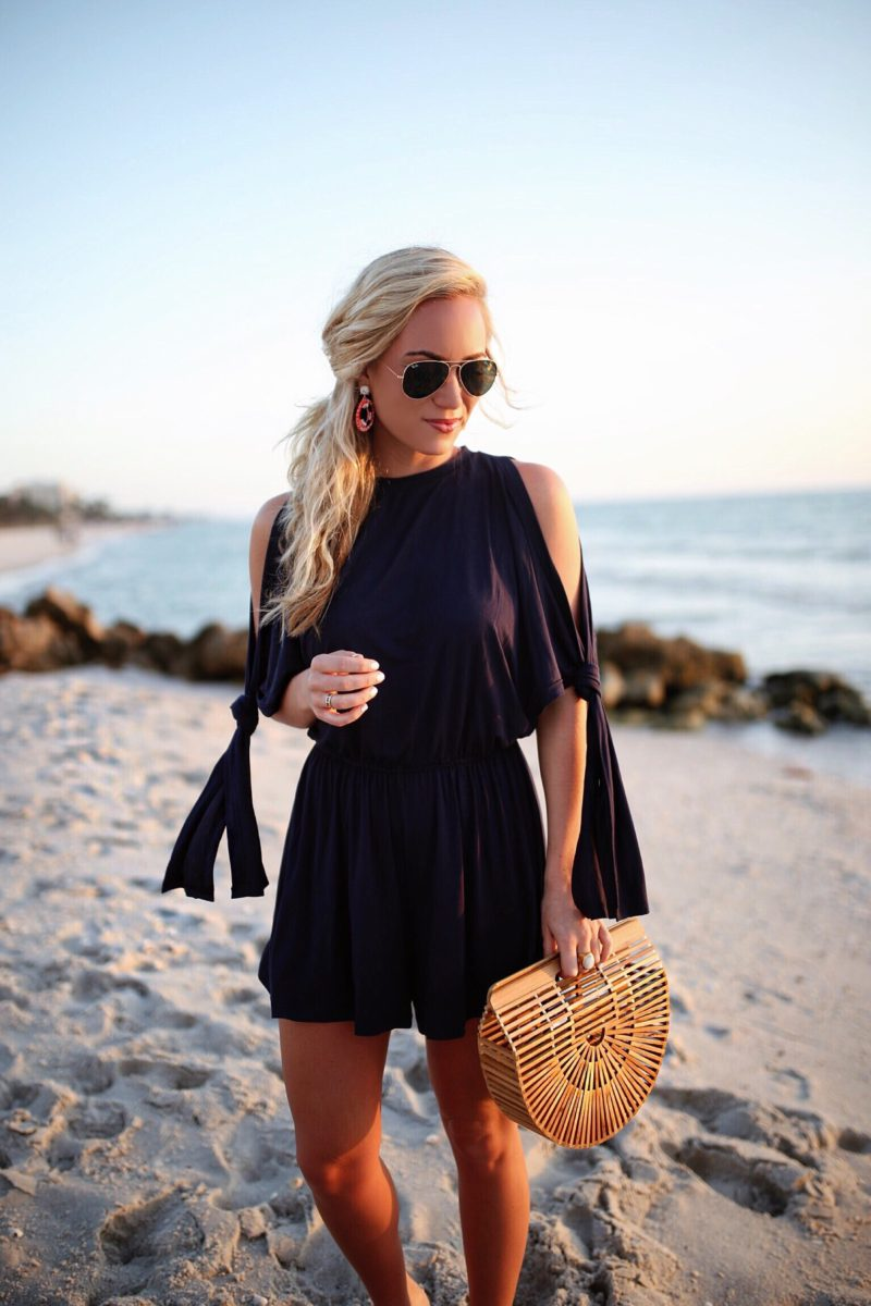 Open Shoulder Navy Romper
