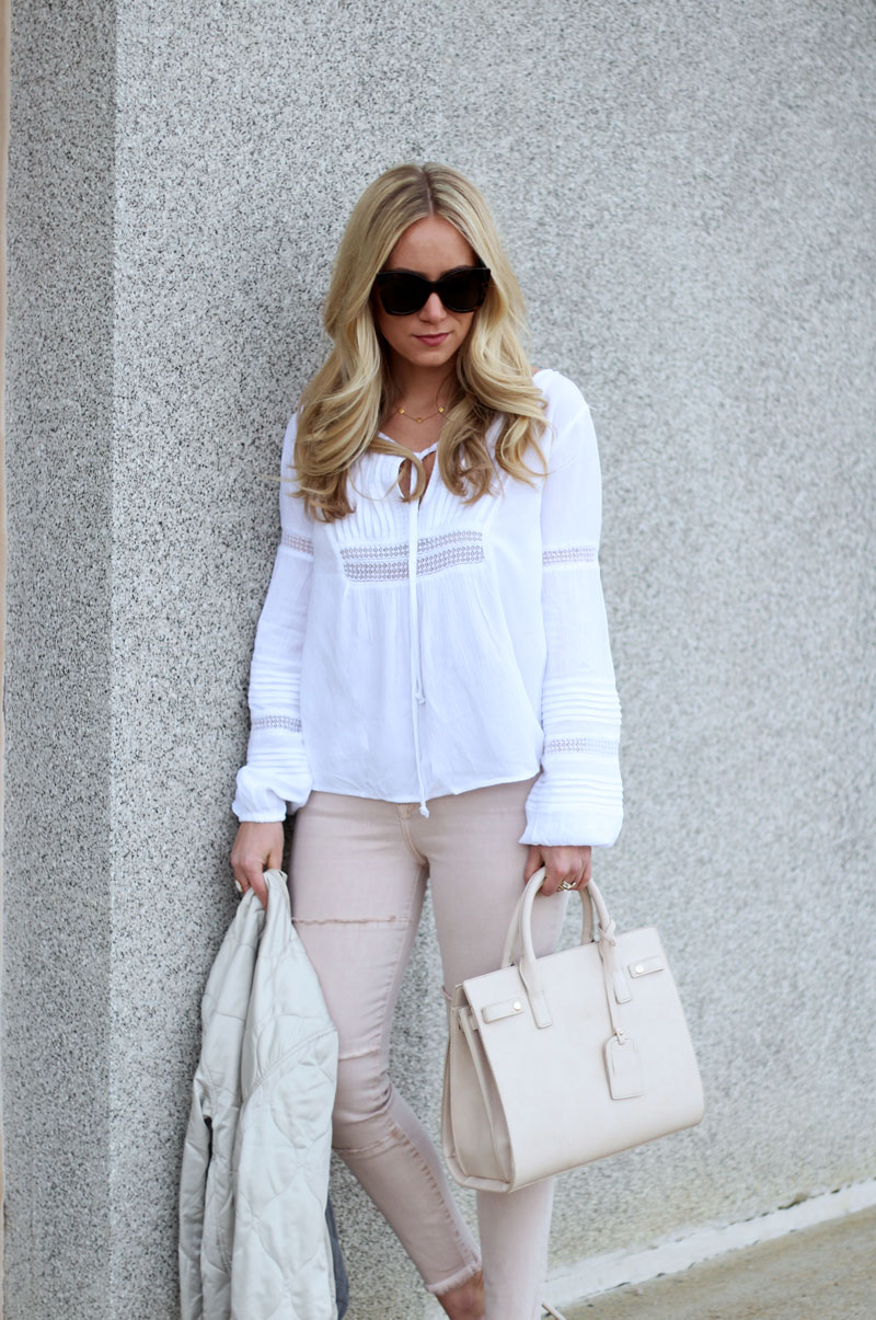 Blush Jeans with Nude Satchel and Boho Blouse