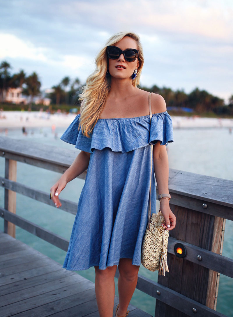 Ruffle-Chambray-Dress