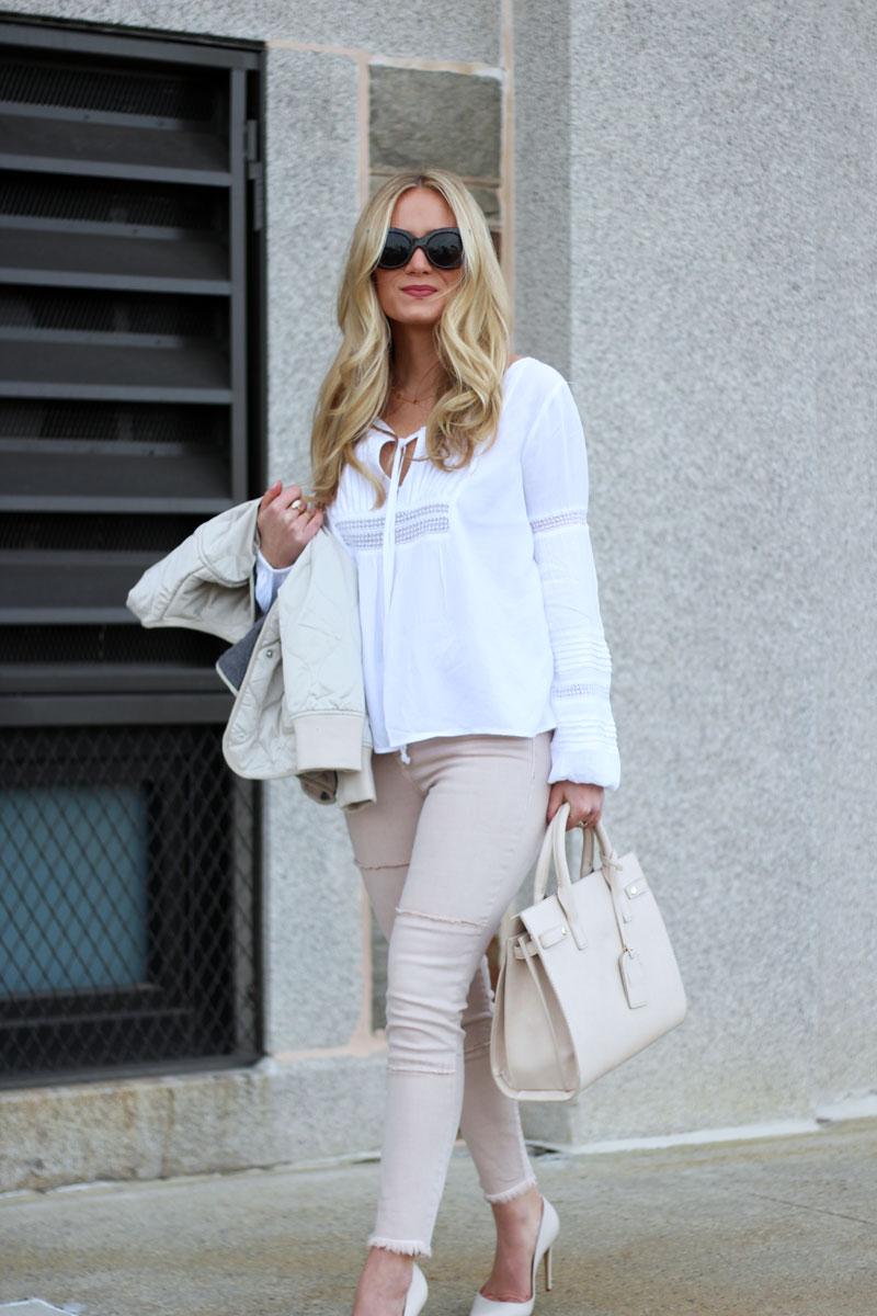 Blush Jeans with Boho White Blouse
