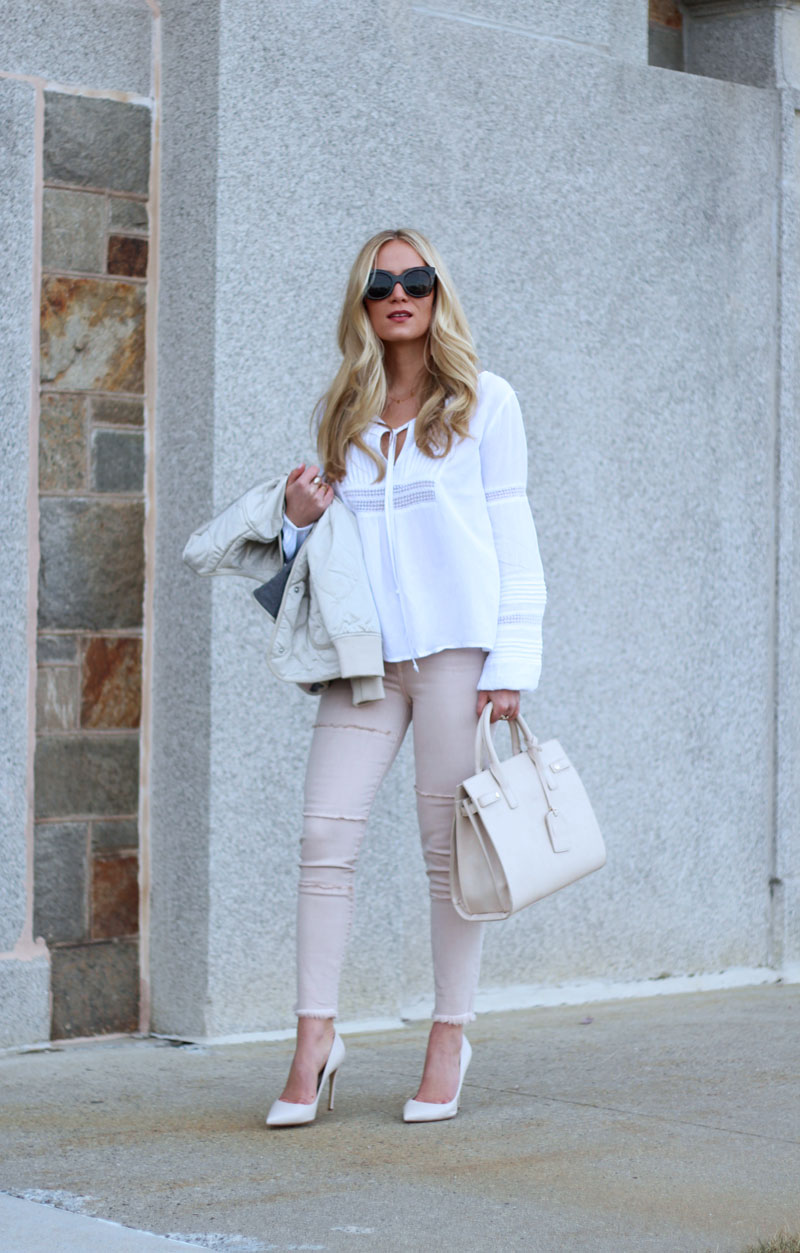 Blush Jeans with Boho Blouse