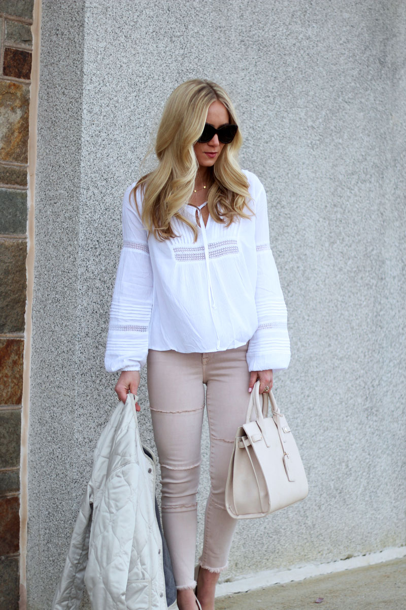 White Boho Blouse with Blush Jeans