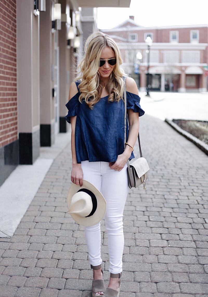 Chambray Top White Jeans Chloe Faye Bag