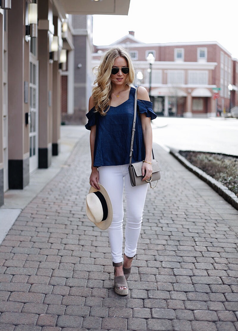 Cold Shoulder Chambray Top