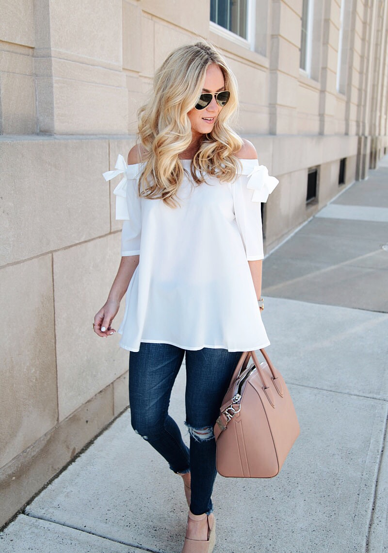 White Top Ripped Jeans Givenchy Bag