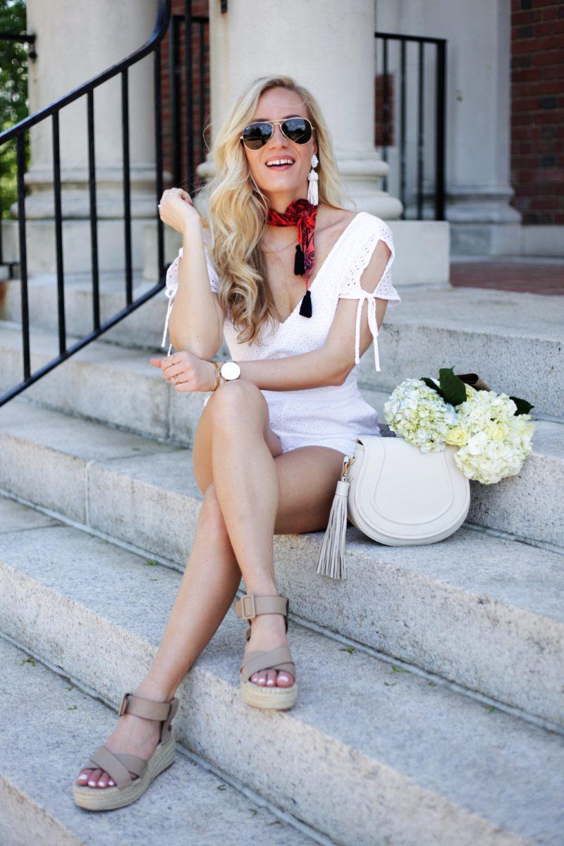 Style Cusp White Eyelet Romper Necktie Bandana