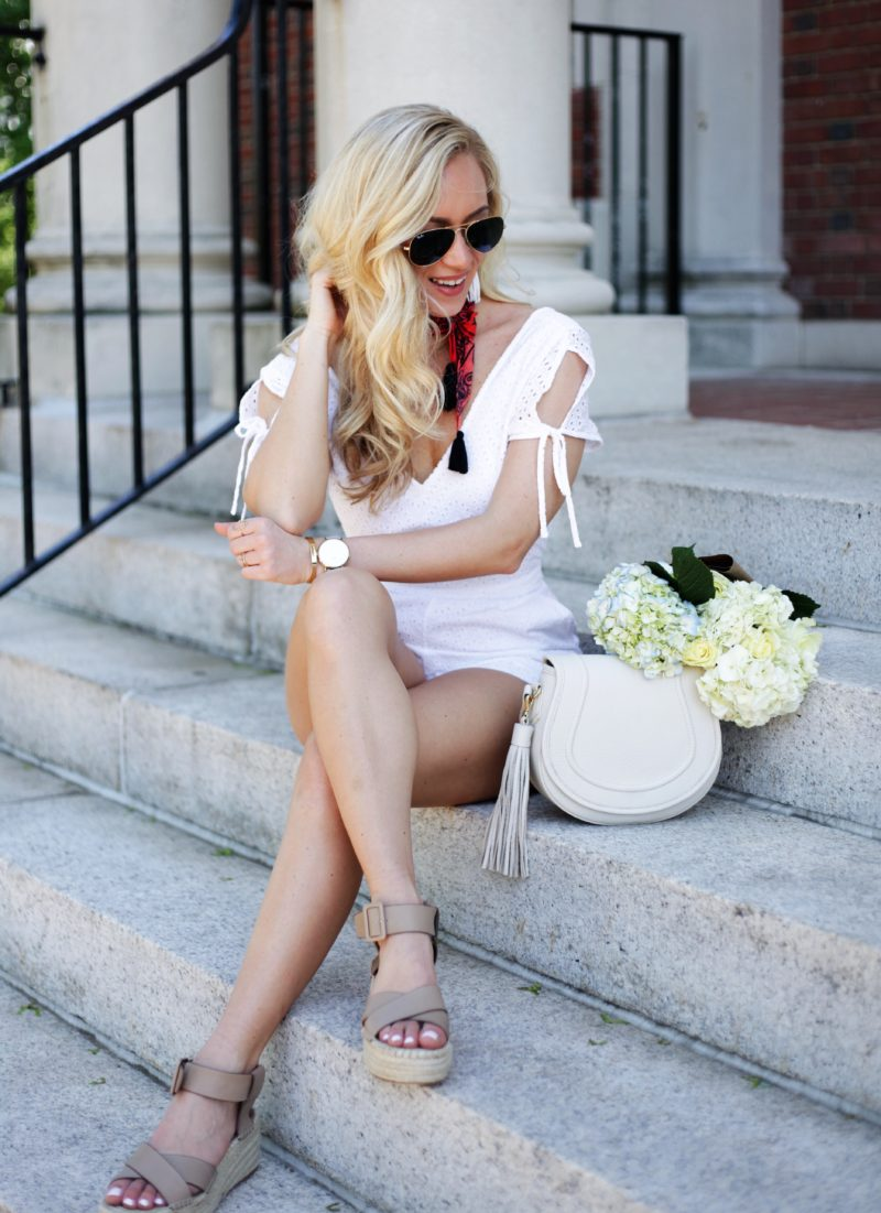 White Eyelet Romper Summer Outfit