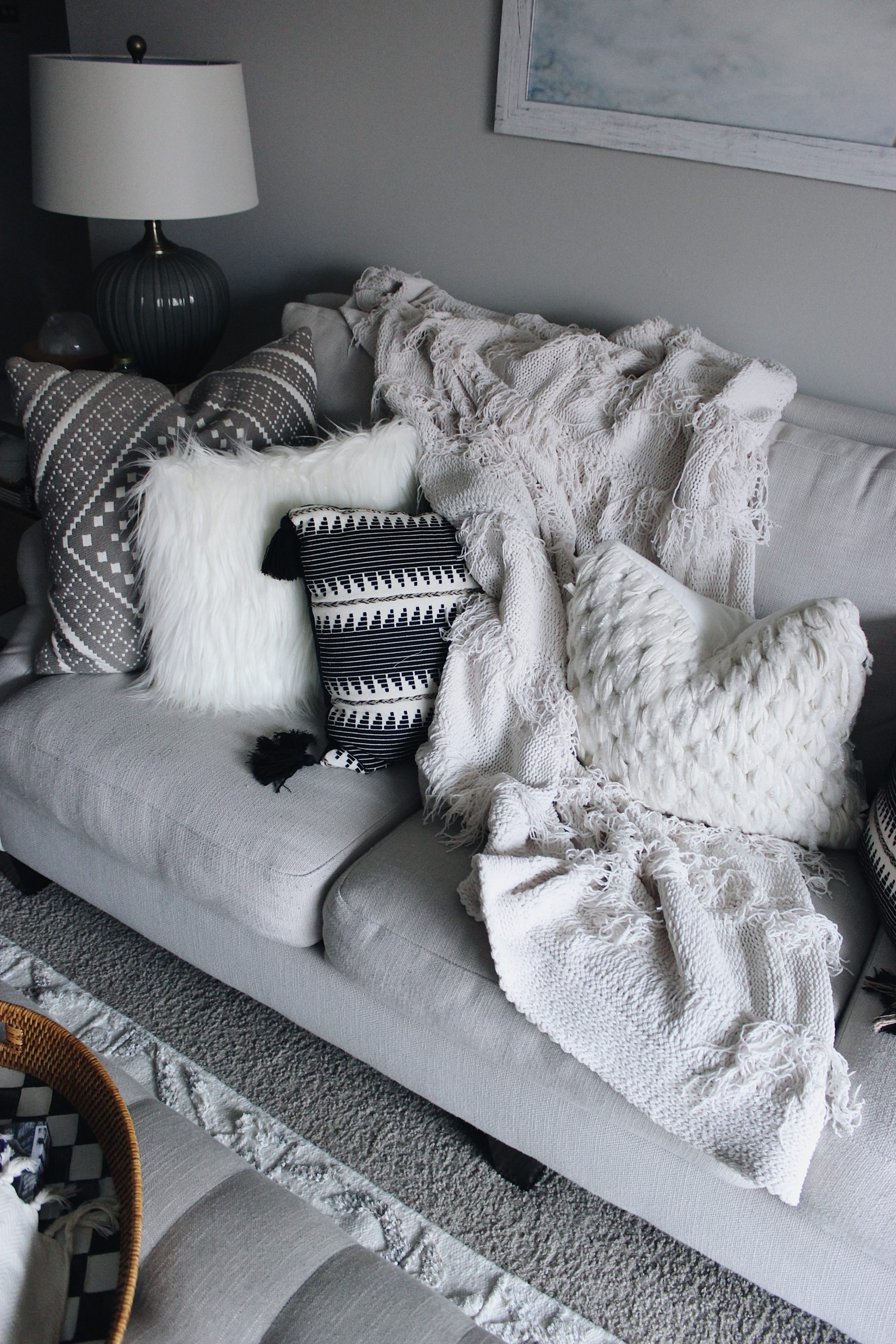 White Pillows Neutral Couch