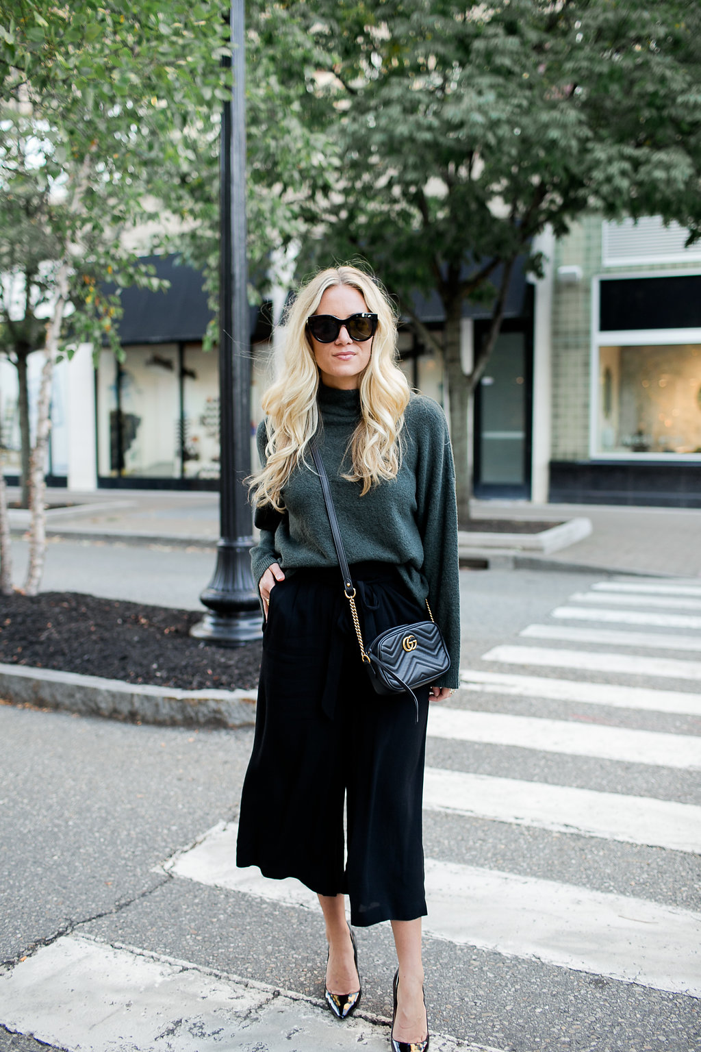 Fall Style Green Sweater Black Pants