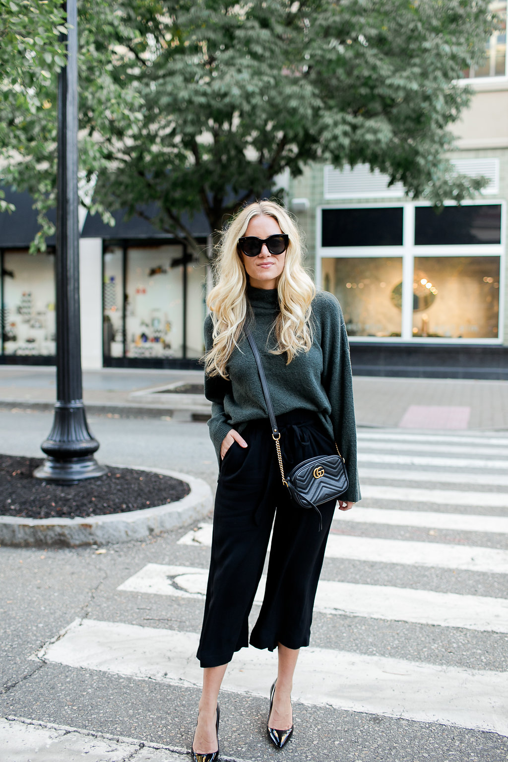 Holiday Style Green Sweater Black Pants