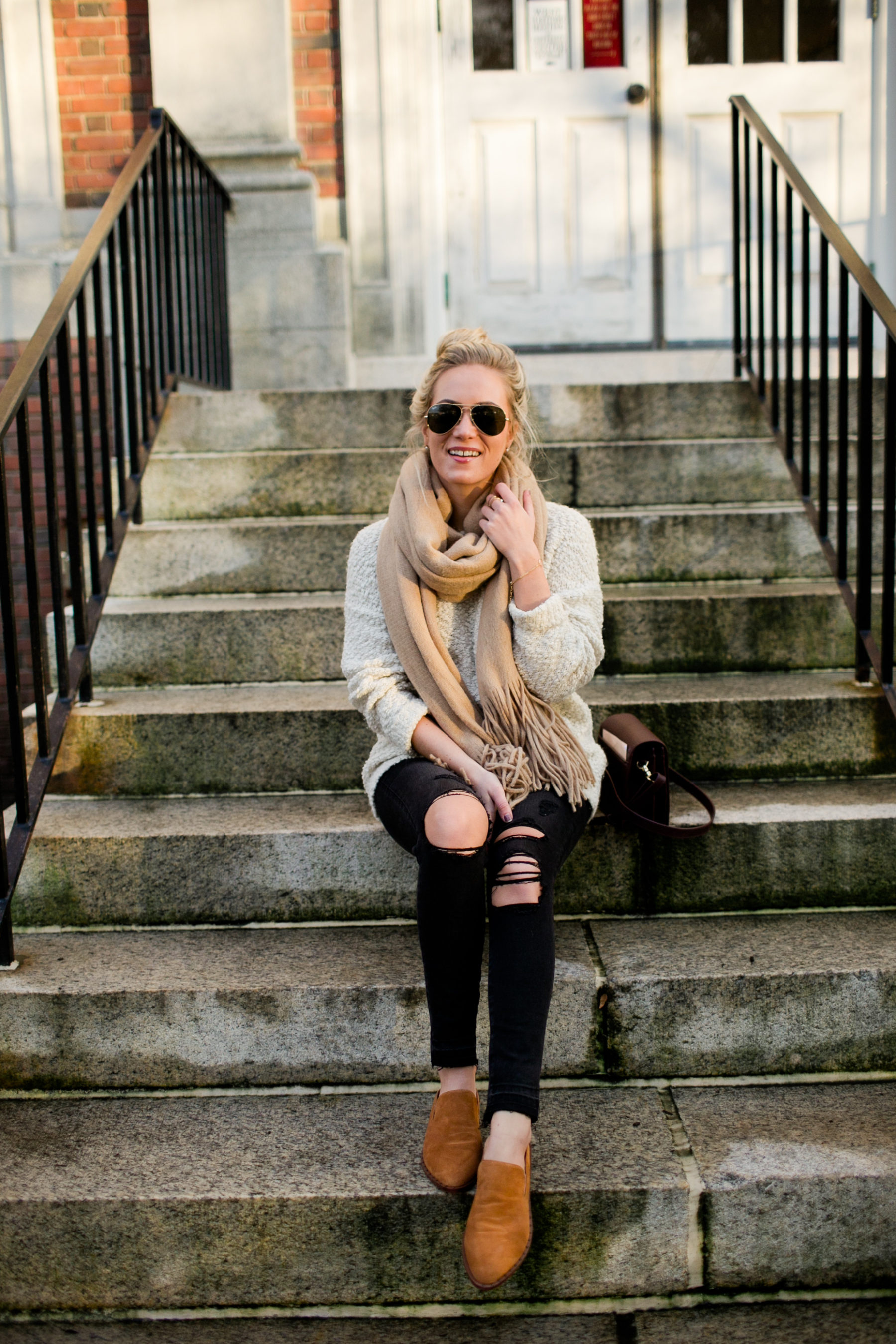 Black Denim Tan Sweater Cute Flats