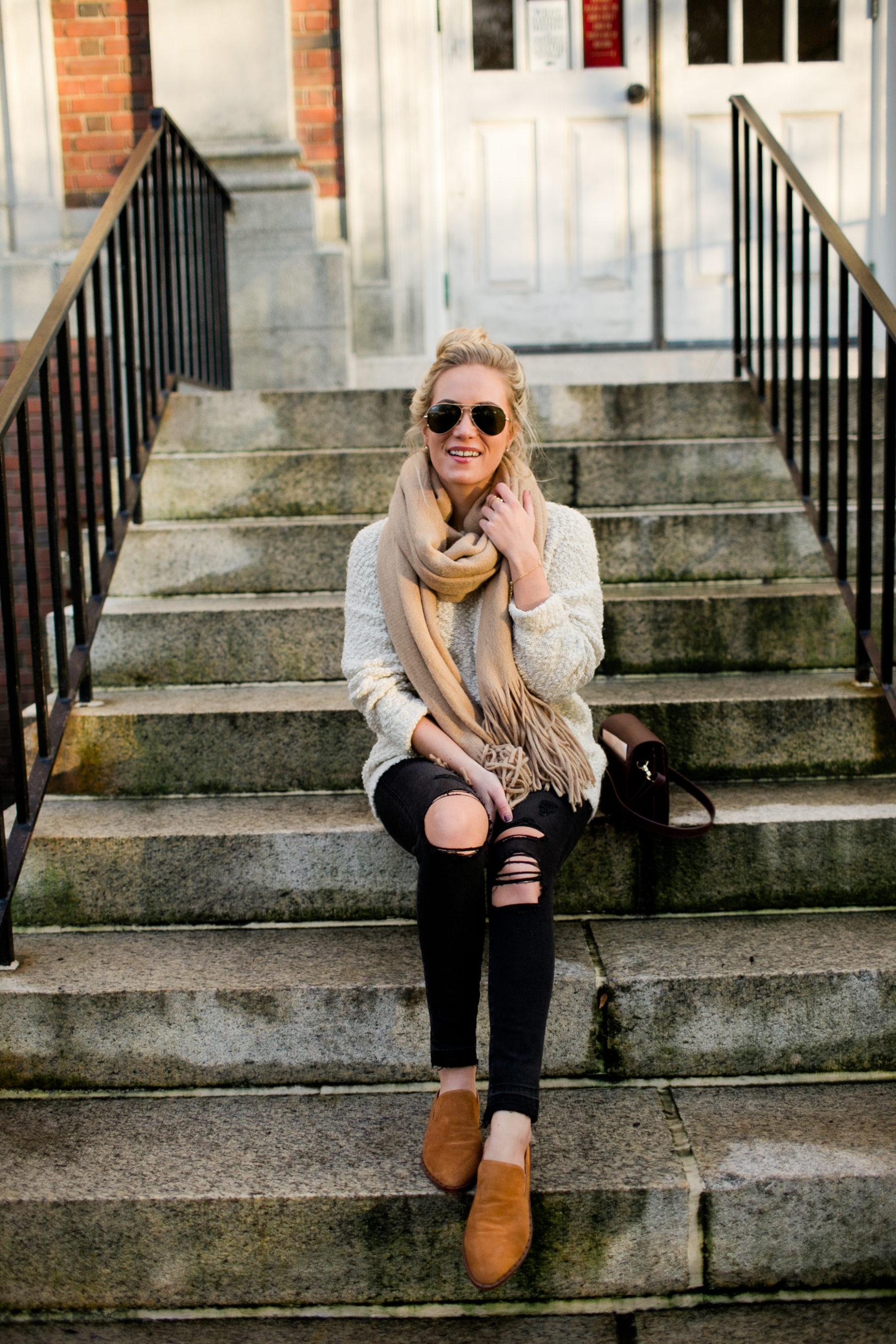 Black Denim Tan Sweater Cute Flats