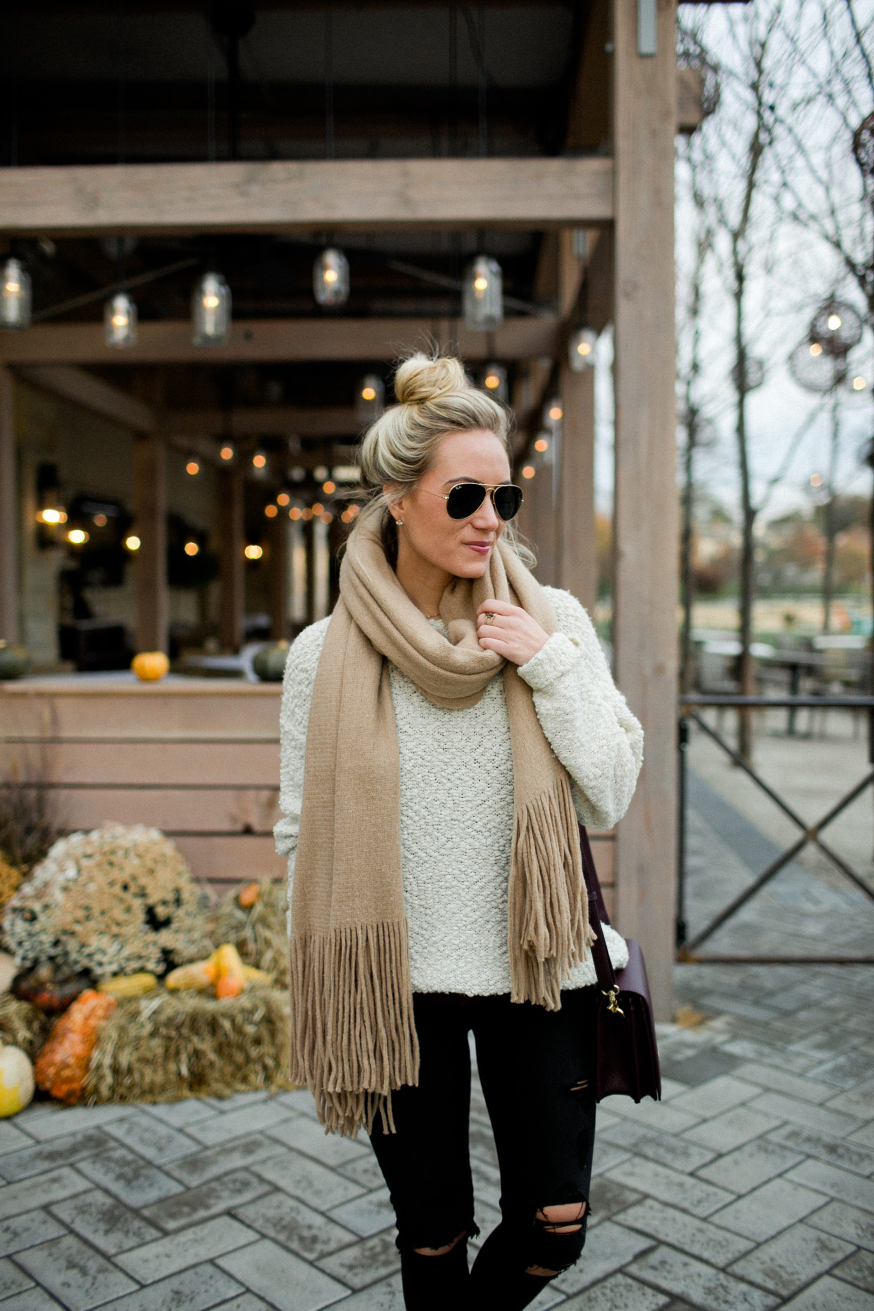 Fall Style Tan Sweater Scarf