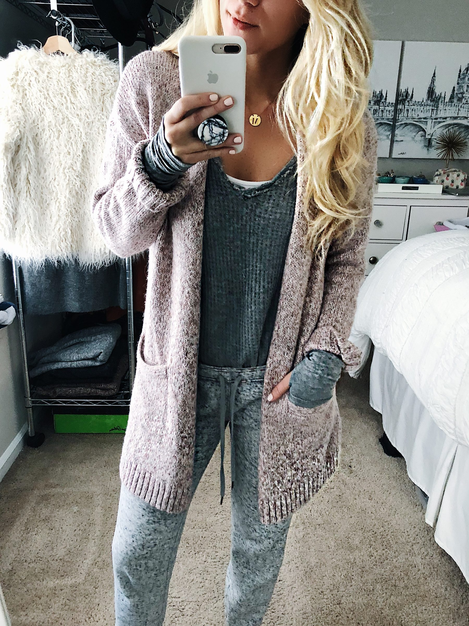 grey joggers cozy sweater free people