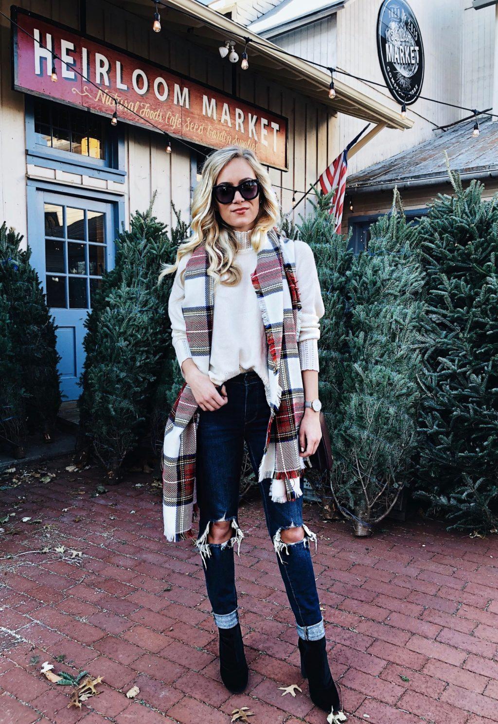 distressed denim plaid scarf cozy sweater