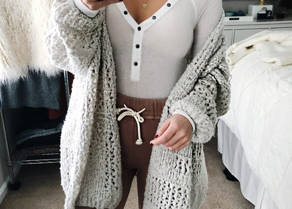 pink jogger sweatpants cream henley free people cardigan