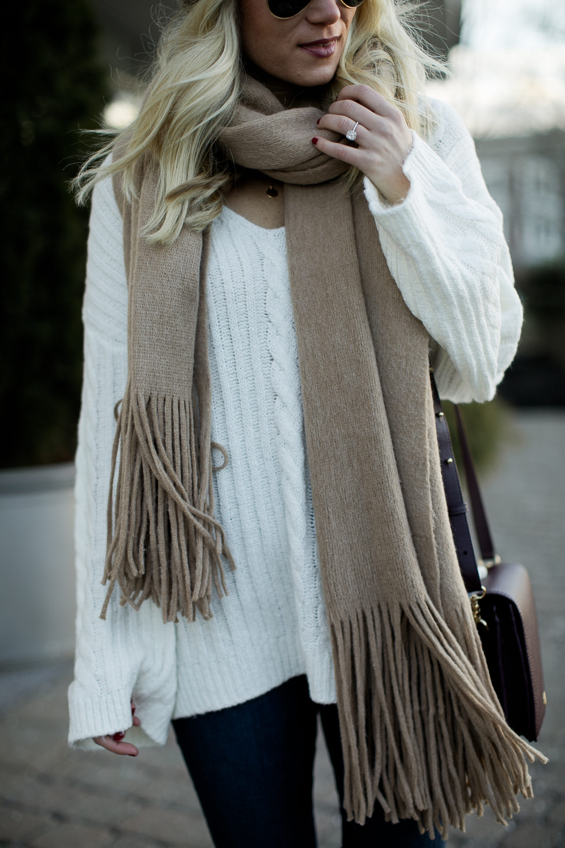 cream sweater tan scarf