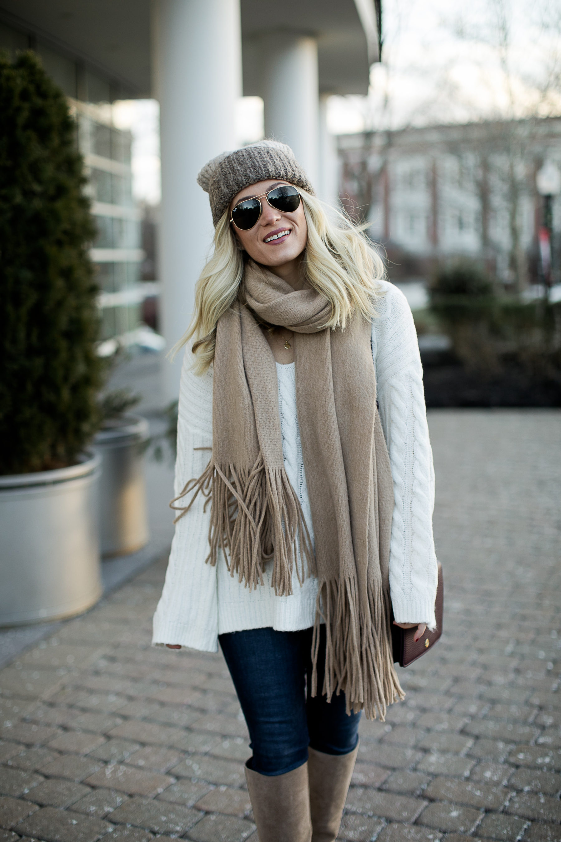 knee high boots cream sweater tan scarf