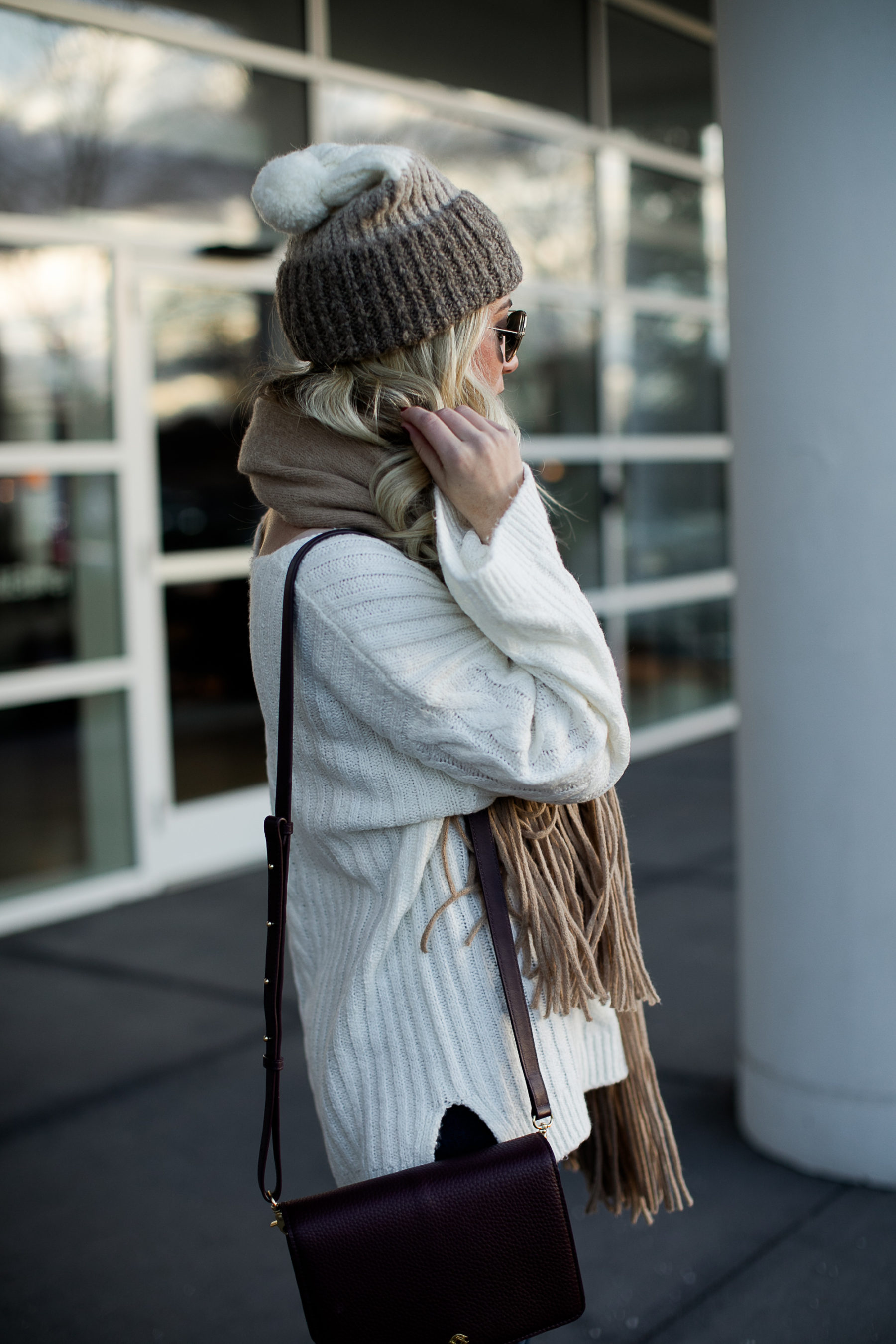 winter beanie tan scarf cream sweater
