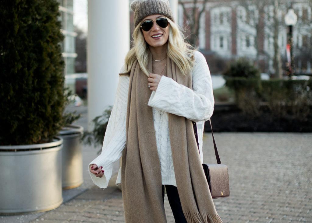 winter beanie tan scarf cream sweater
