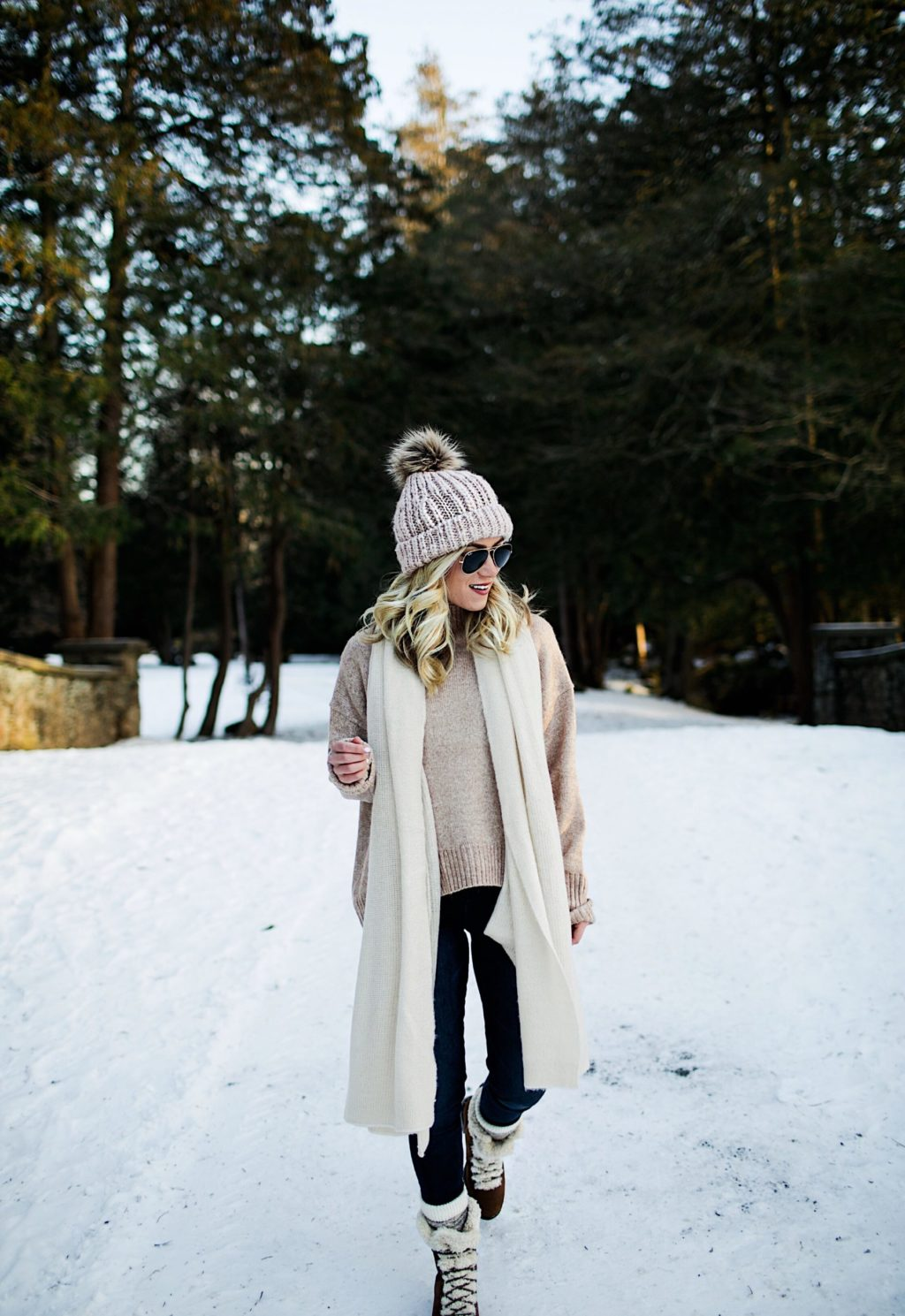winter winter outfit neutral sweater snow