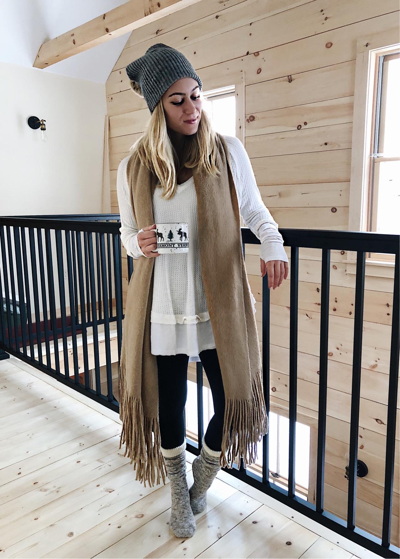 neutral cozy loungewear cabin snow