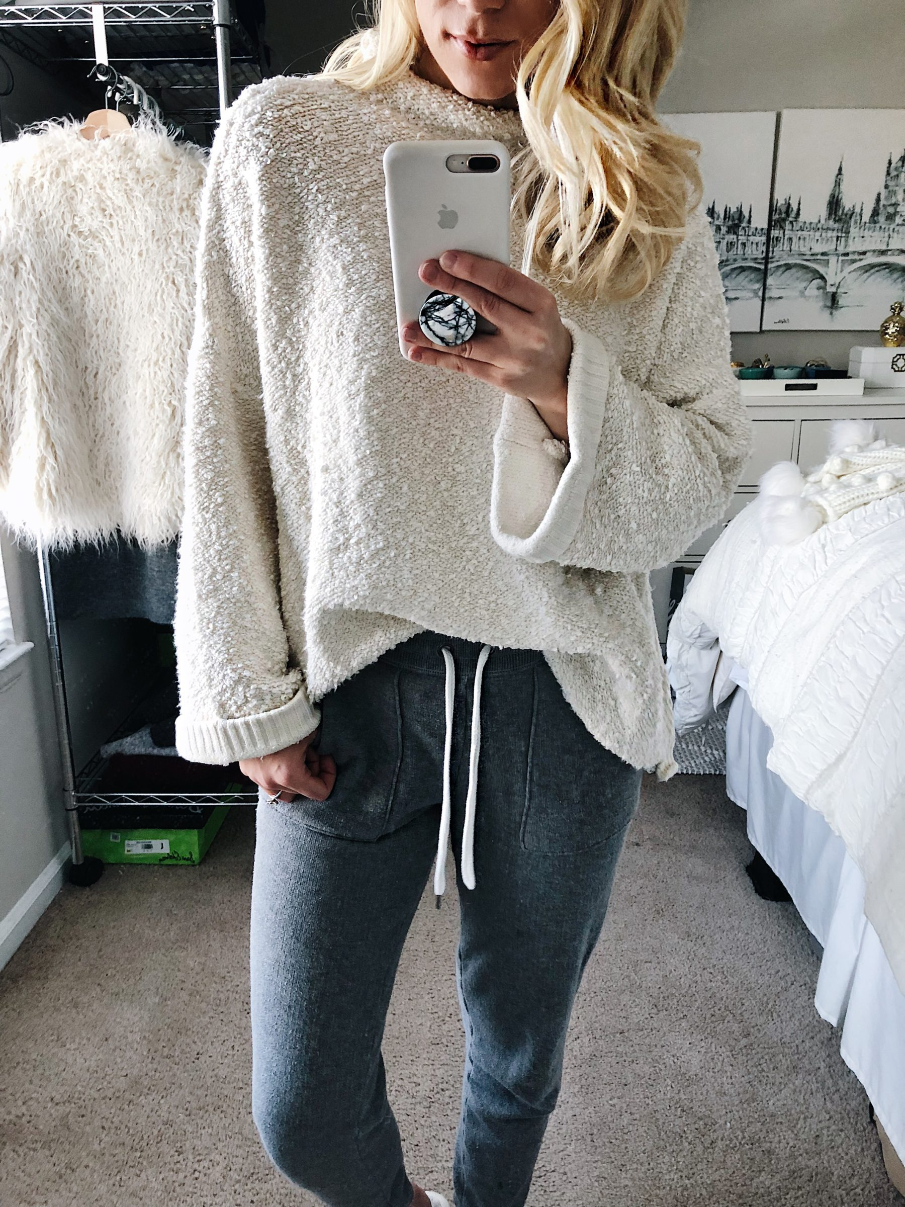 cream sweater grey joggers winter lounger