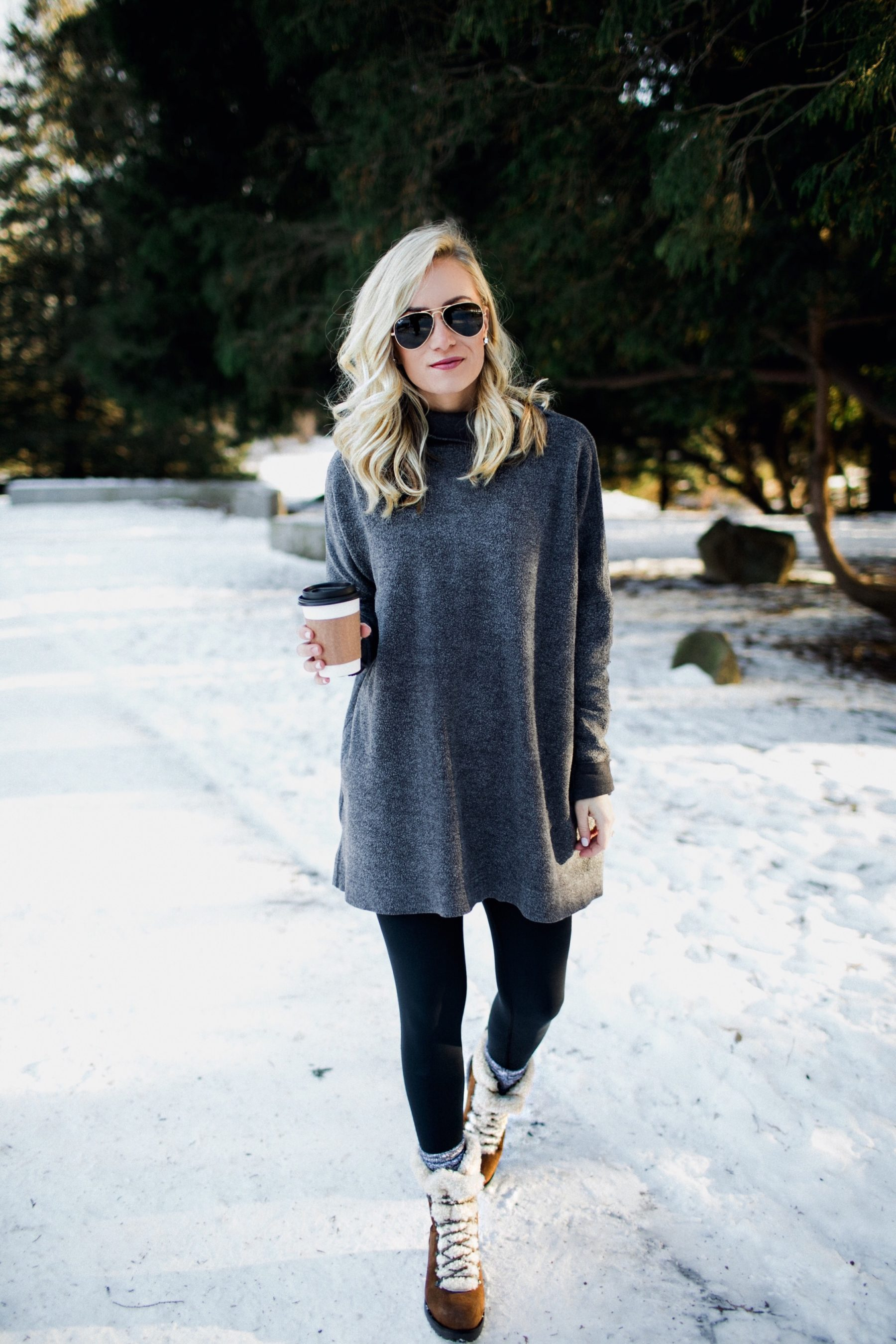 oversized sweater legging cute snow boots