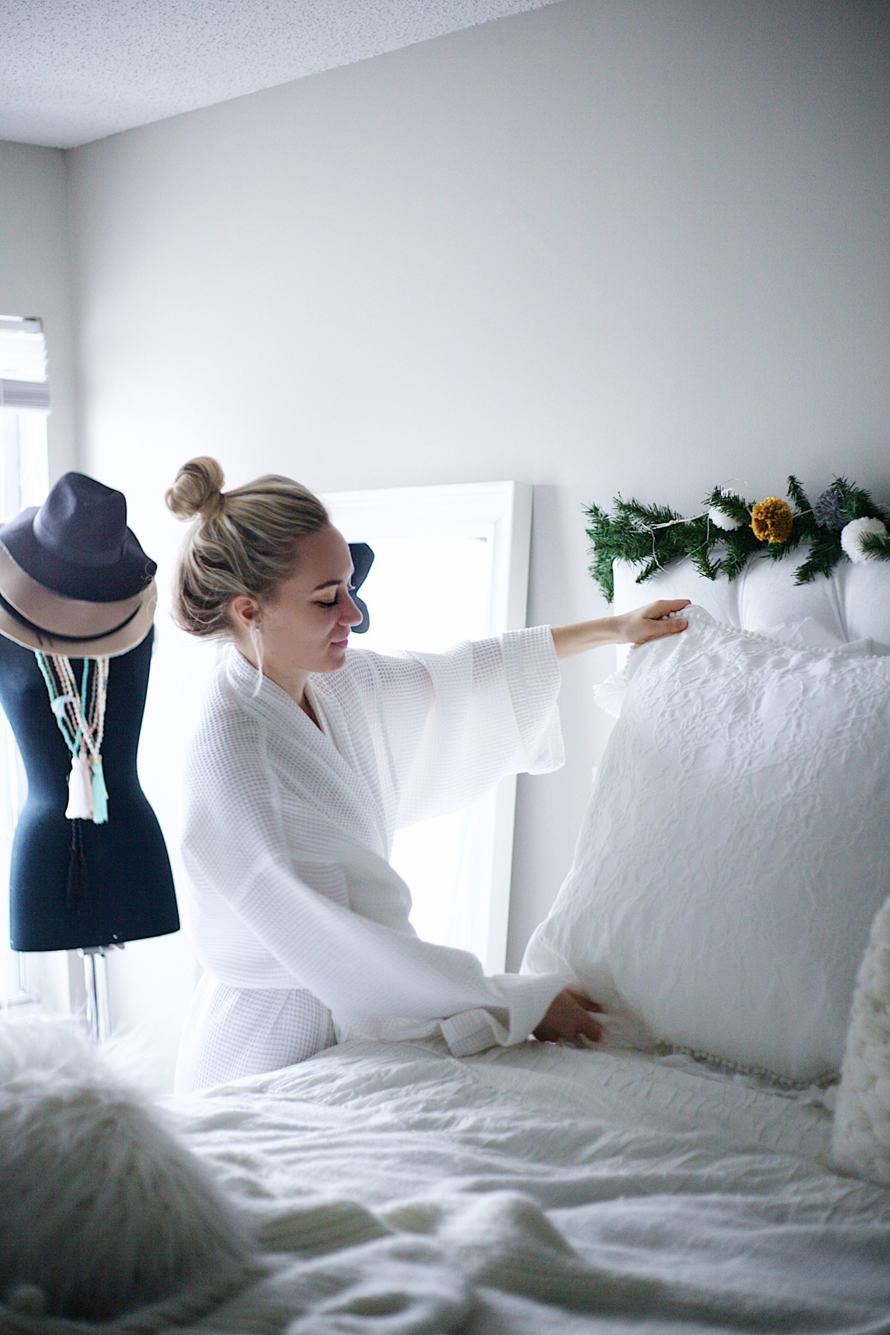 White bedroom robe cozy