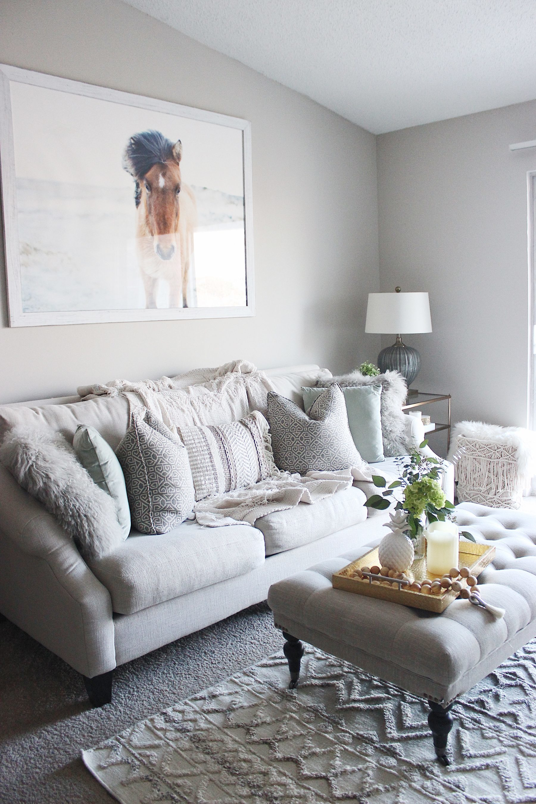 Boho neutral living room fur pillow
