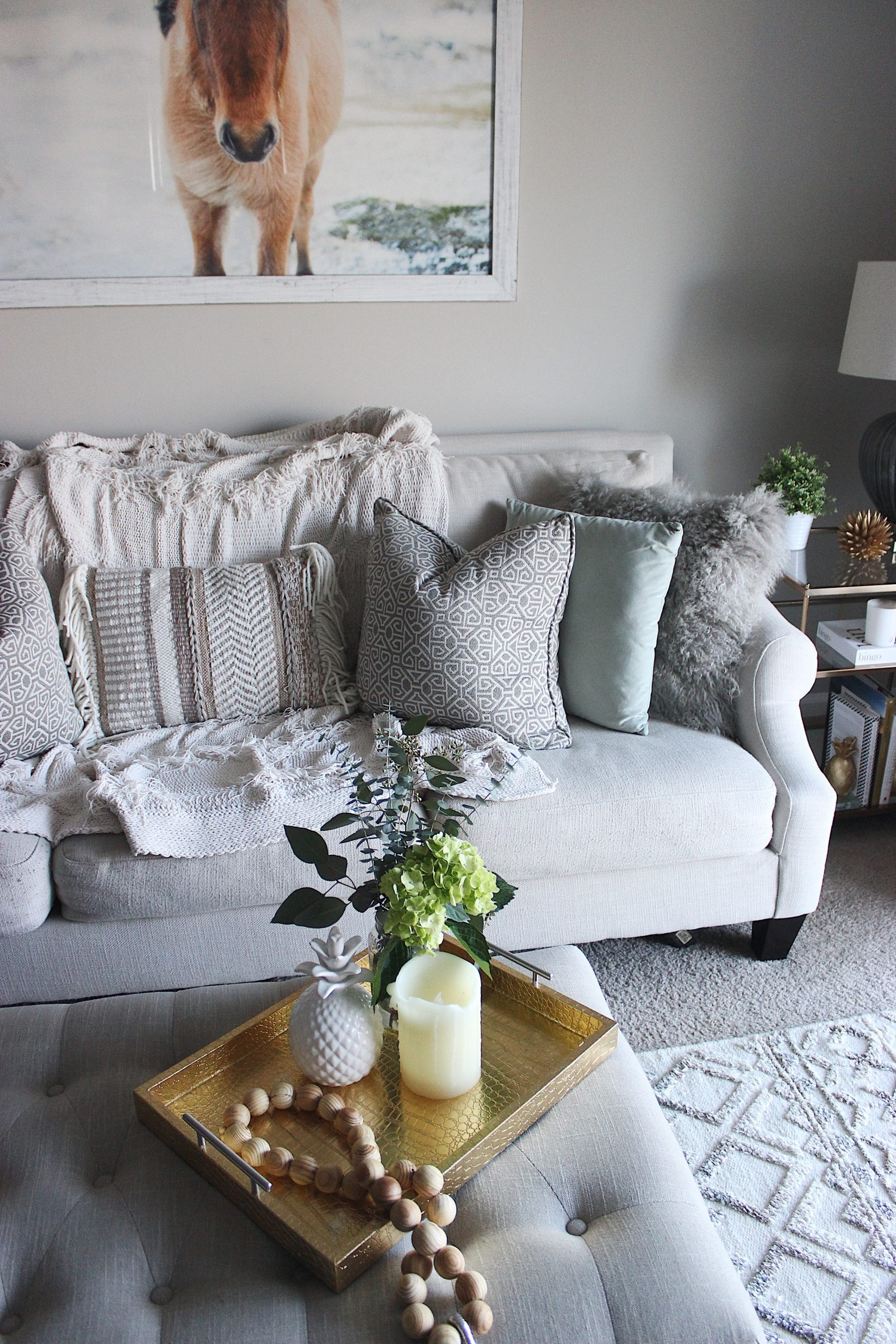 Neutral living room fringe pillow