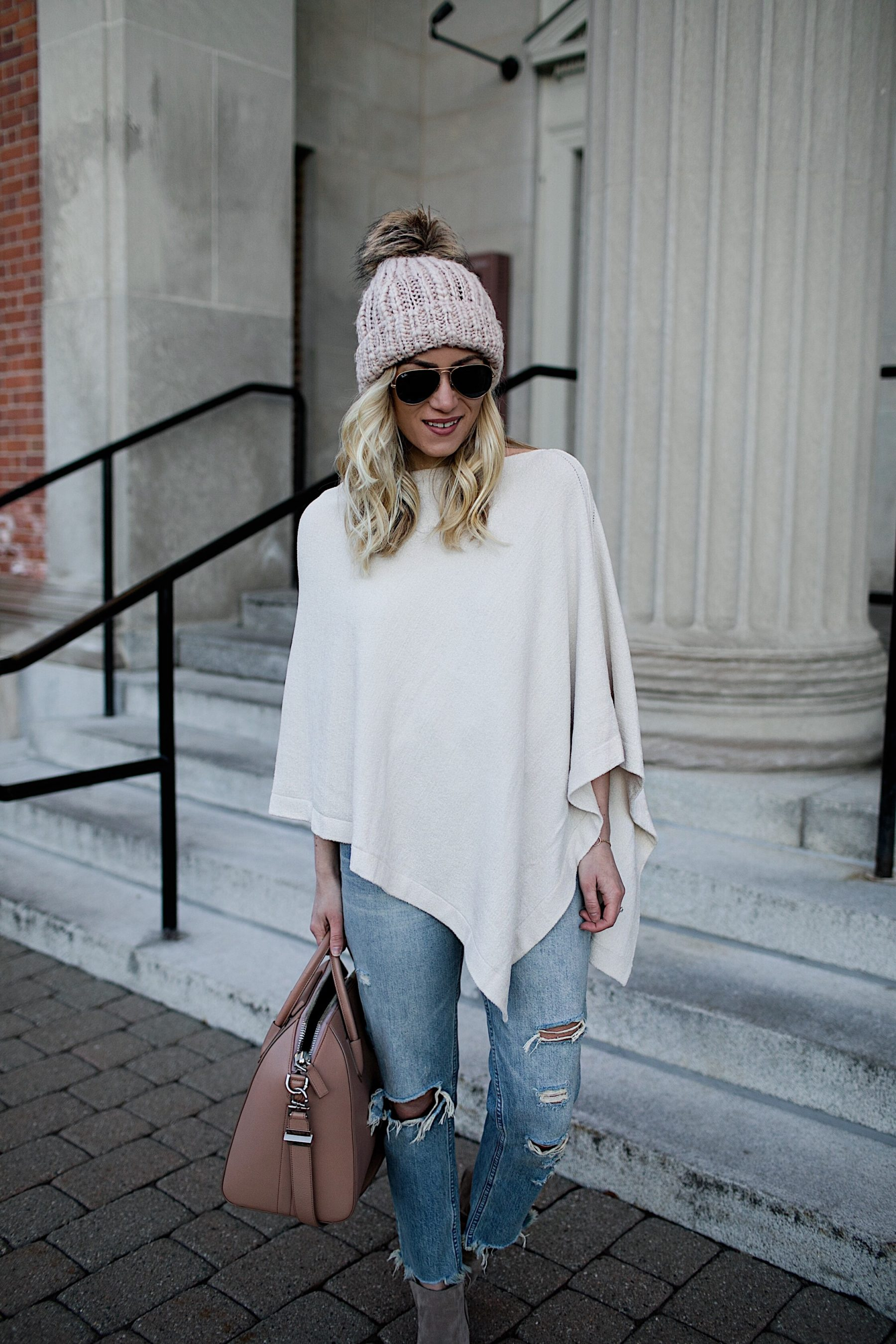 Cream Poncho Distressed Denim Pink Beanie