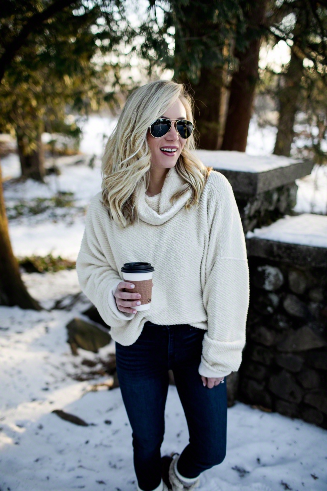 Cream Turtleneck Sweater Dark Denim Winter Boots