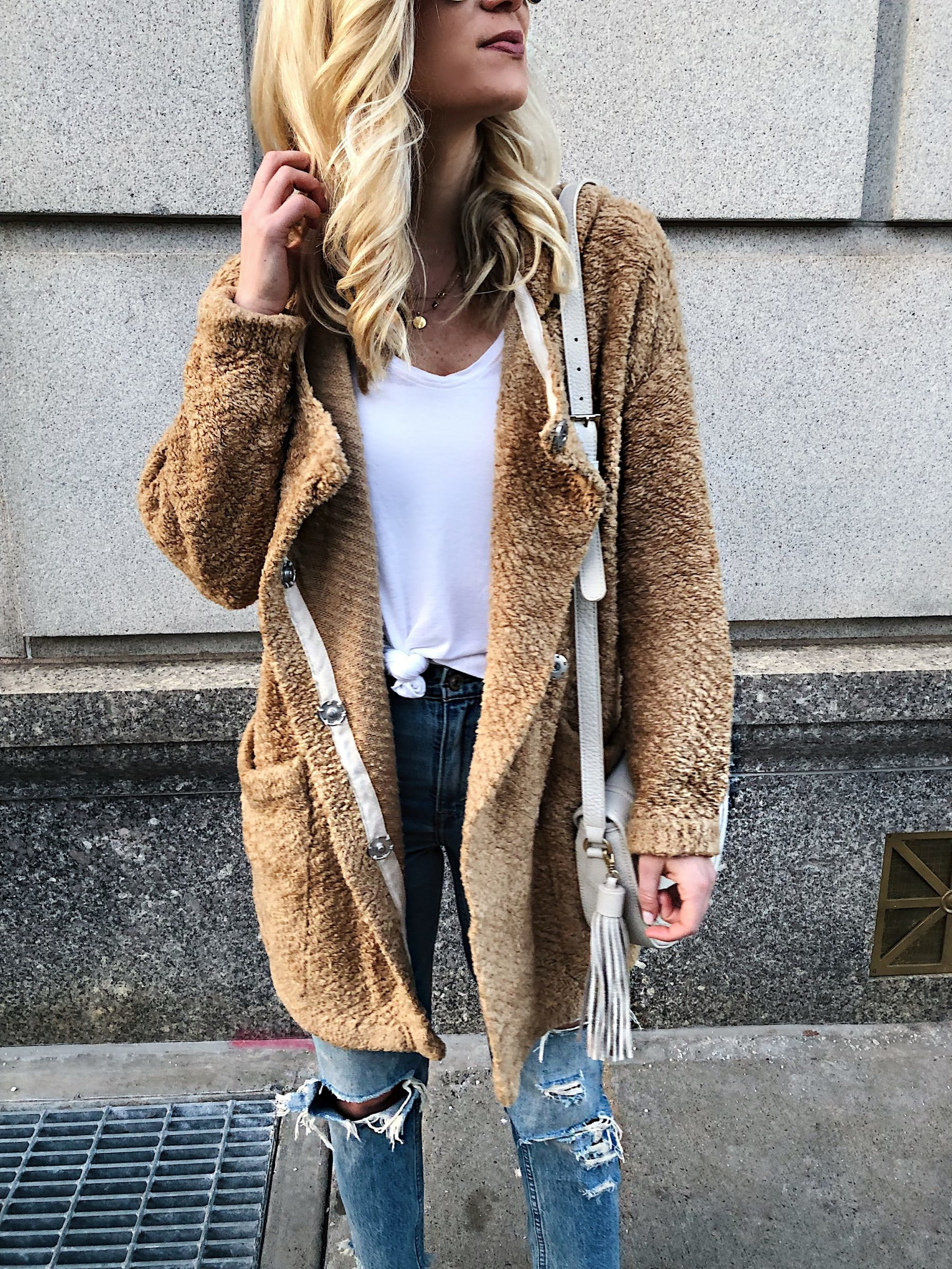 Furry Jacket Distressed Denim