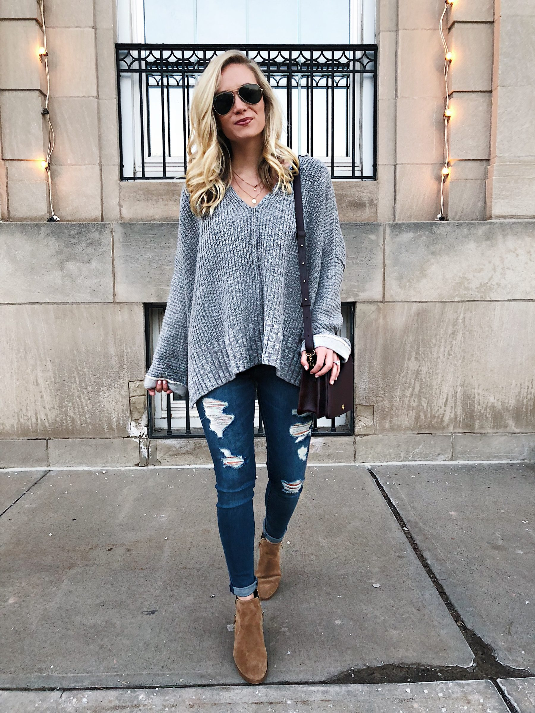 Grey Sweater Distressed Denim Suede Booties