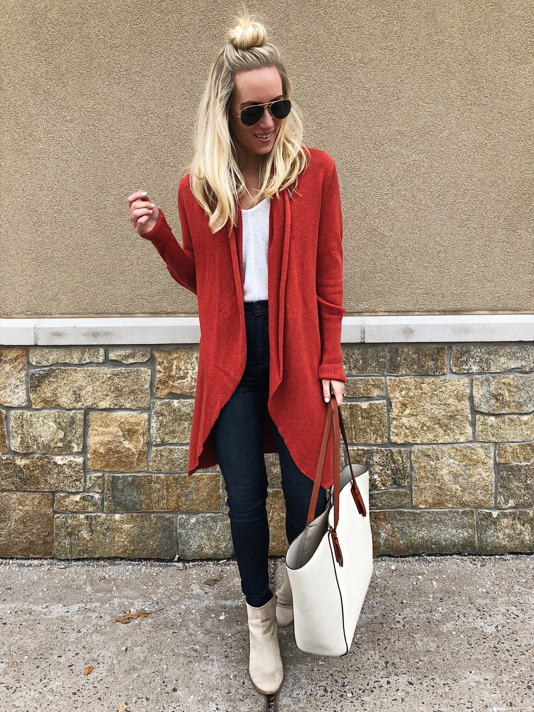 Red Cardigan White Tank Denim