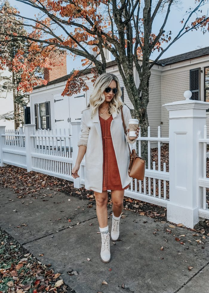 Suede Dress + Lace Up Booties