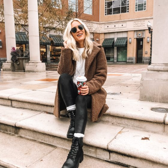 Teddy Coat + Combat Boots