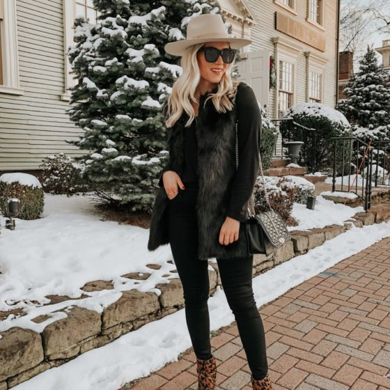 Faux Fur Vest + Leopard Booties