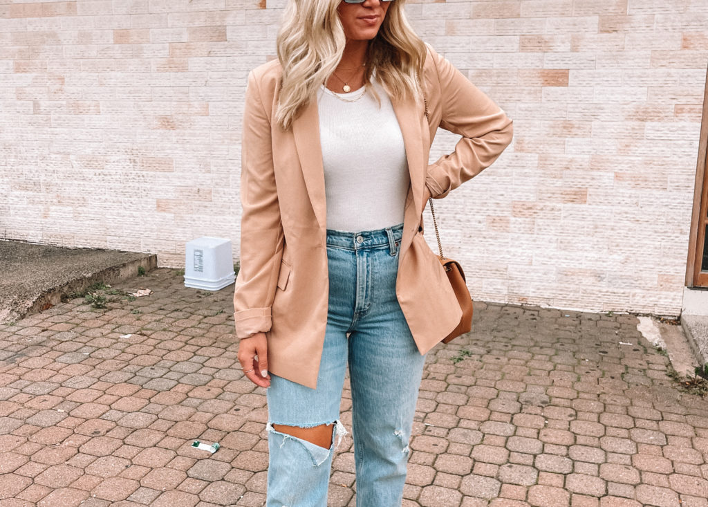 fall style with high rise jeans and camel blazer